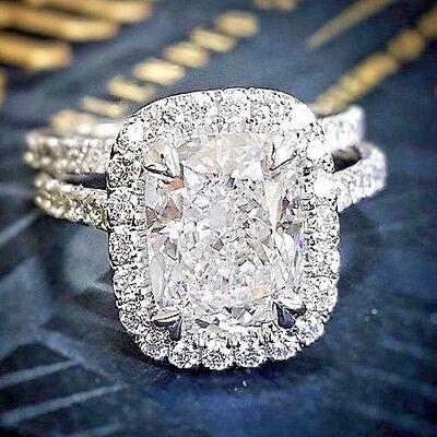Brand New 1.90 Ct Cushion Cut Diamond Halo Engagement Bridal Ring Set E VVS GIA