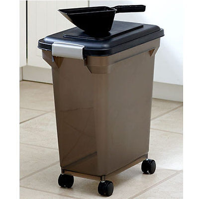 Dog Food Storage Container Dry w/Scoop Wheels Pet Cat Bird Seed Canister 28QT