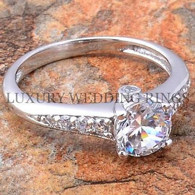 1.5ct Round Cut Aaa Cubic Zirconia .925 Silver Wedding Ri...