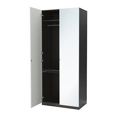 IKEA PAX Guardaroba, marrone-nero, Vikedal specchio 100x60x236 cerniera ammortiz
