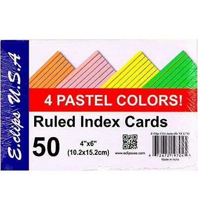 Index Cards 4x 6 50 Pk Pastel Colors Case Pack Of 60 Ideal For Bulk Buyer