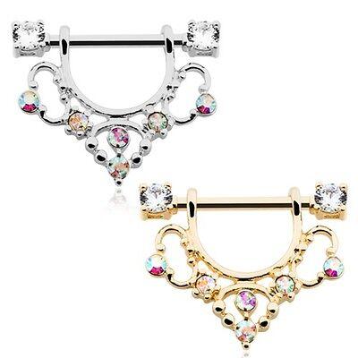 Golden Elegant Sparkle Filigree Dangle Nipple Shield Ring Clear AB CZ Barbell (Sparkling Shield)