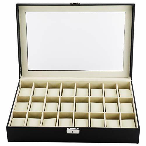 24 Slot PU Leather Watch Box/Watch Case/Jewelry Display Storage Organizer Box