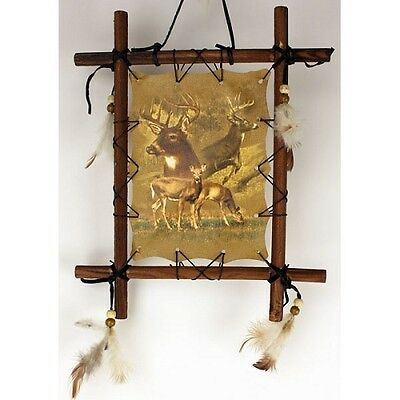 Wood Frame Deer Native American-Style Mandala Dream Catcher Decor Wall Art