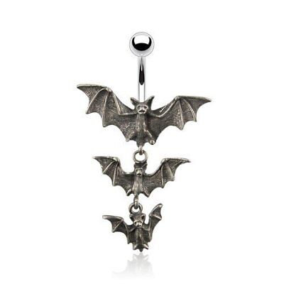 Surgical Steel Navel Belly Button Ring: Gothic Tri-Vampire Bats Dangle Bat Dangle Belly Ring