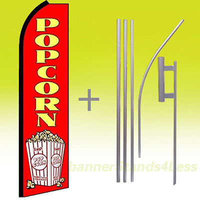 Popcorn Swooper Flag Kit Feather Flutter Banner Sign 15 Tall - Rq