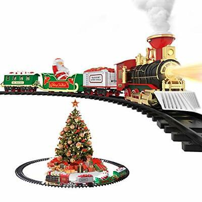 Hot Bee Christmas Toy Train Set, Electric Steam Train Toy w/ Smoke, Lights