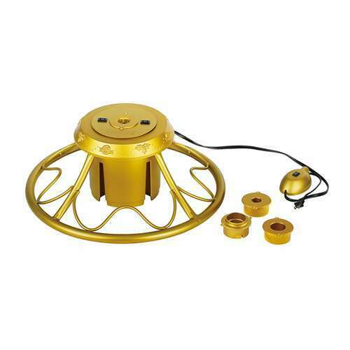 Home Heritage Golden Rotating Christmas Tree Stand for Trees up to 9