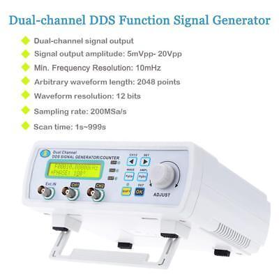Digital DDS 2 Channels Signal Function Generator Waveform Meter 200MSa/s 25MHz