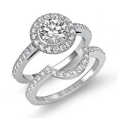 2.5ct Round Natural Diamond Engagement Bridal Set Ring GIA F VS2 14k White Gold