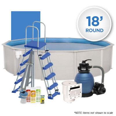 Oceania 18' Spheroidal Above Ground Hardwall Swimming Pool Pack w/ Chemical Start Kit