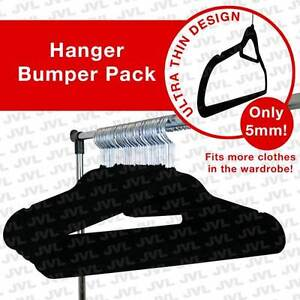 JVL Black 120 pack thin velvet space saving non-slip coat hangers