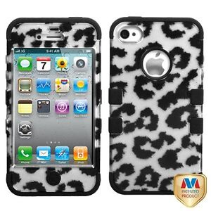 Silver Black Leopard 2D Tuff-Hybrid Case for iPhone 4 4S