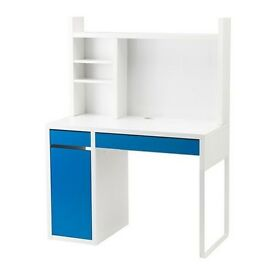 White and Blue Ikea Desk