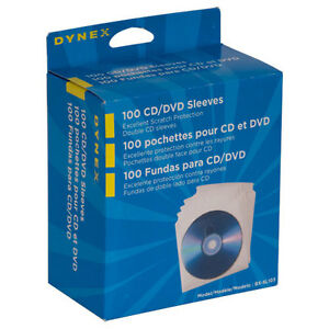 NEW Dynex 100-Pack CD Sleeves