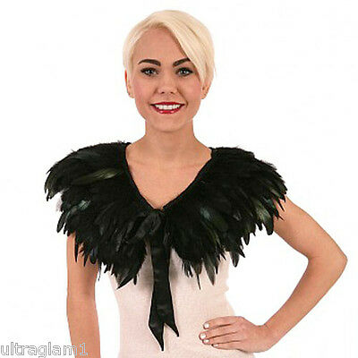 BLACK ROOSTER COQUE FEATHER NECKLINE COLLAR/ CAPE/BOA/ TRIM/COSTUME/DRAG QUEEN - Feather Boa Black