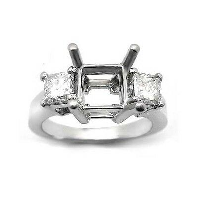 0.42 PRINCESS CUT 3 STONE DIAMOND RING SETTING MOUNTING 3 Stone Princess Ring Setting