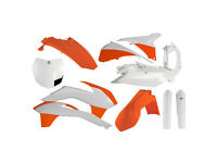 Acerbis Plastic Kit KTM EXC EXC-F 125 250 350 450 14-16 Factory Replica White/OR