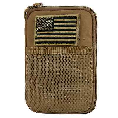 Condor MA16 COYOTE BROWN MOLLE Passport ID Wallet Phone Pocket Pouch w/ USA Flag