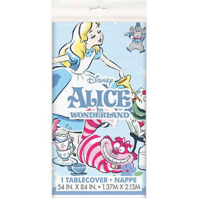 ALICE IN WONDERLAND PLASTIC TABLE COVER ~ Birthday Party Supplies Cloth Decor