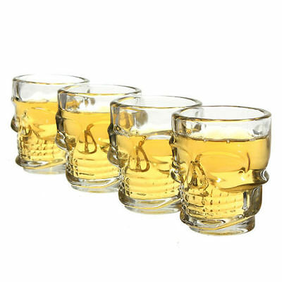 4Pcs Crystal Skull Head Bar Pub Shot Glass Drinking Cup Mug Barware 2.5 Oz