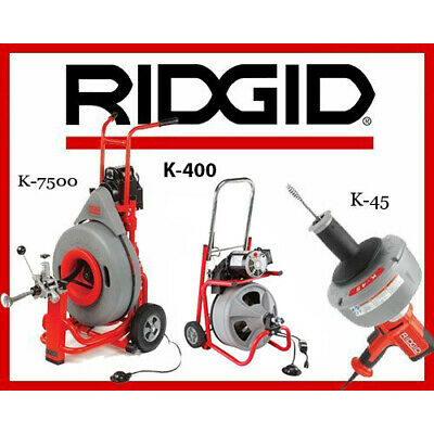 Ridgid K-7500 Drum Machine 60052 K-400 Machine 24853 K-45-1 Sink Machine 36013