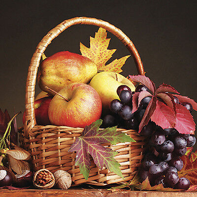 20 Paper Luncheon Napkins Autumn Basket with Apples, Grapes, Walnuts, Fall