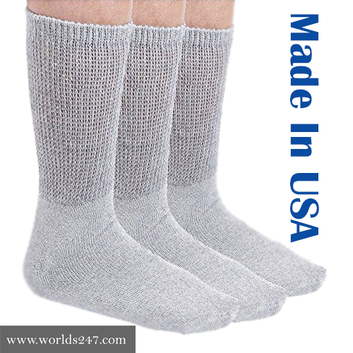 Купить BEST QUALITY CREW DIABETIC SOCKS 6,12,18 PAIR MADE IN USA SIZE 9-11,10-13 &13-15