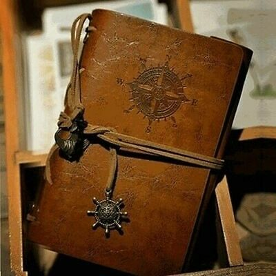 Vintage Leather Notebook Sketchbook Diary Blank Loose-leaf Kraft Journal Book UK