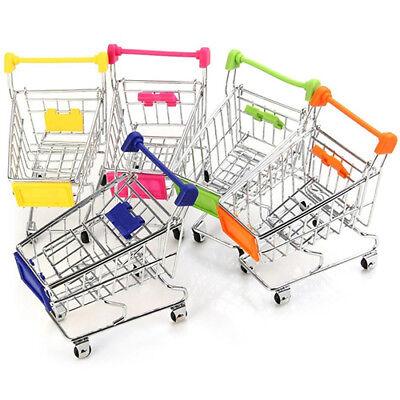 Supermarket Hand Trolley Mini Shopping Cart Desktop Decor Storage Toy Gift New