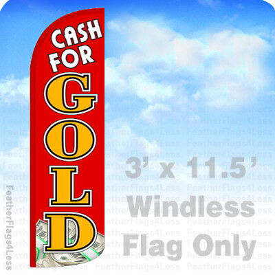 Cash For Gold - Windless Swooper Flag Feather Banner Sign 3x11.5 Rq