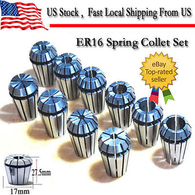 10pcs Er16 Spring Collet Set For Cnc Milling Lathe Tool Engraving Machine