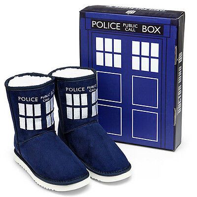 DOCTOR WHO - Tardis Ladies Boot Slippers ~ US Womens Size 9 (Robe Factory) #NEW