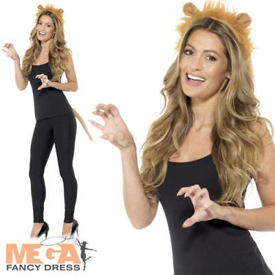 Lion Kit Headband + Tail Ladies Fancy Dress Animal Adults Costume Accessory Set  - Lion Tail Costume Accessory