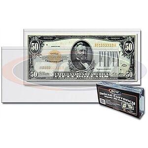 25 REGULAR  BCW DELUXE CURRENCY SLEEVE BILL  HOLDERS PAPER MONEY SEMI RIGID