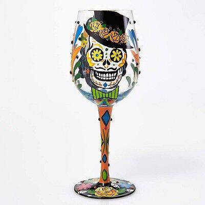 Lolita Love My Wine Halloween  SUGAR SKULLS WINE GLASS - Sugar Skull Wine Glass