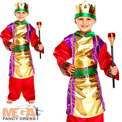 King Boys Fancy Dress Christmas Nativity Play Kids Childrens Wise Man Costume (Childrens King Costume Nativity)