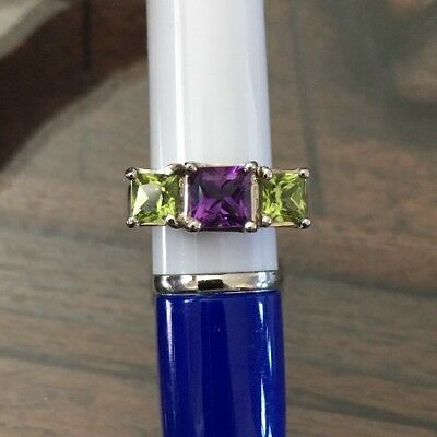 (Square Princess Cut Genuine Amethyst And Peridot Three Stone Ring 14k White G)