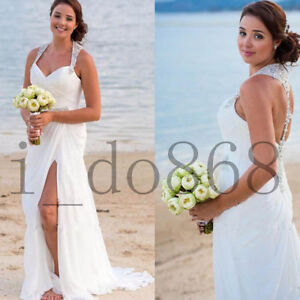 New Summer  Halter Neck Beach Wedding Dress Chiffon Long Bridal Gown Custom