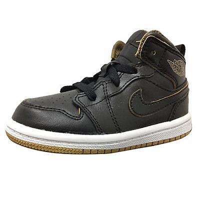 Nike Air Jordan 1 Mid BT Schwarz Gold Metallic Kleinkind Basketballschuhe (Kleinkind Nike Basketball Schuhe)