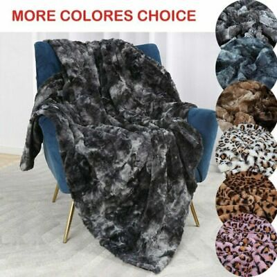 Sliver Grey Wolf Faux Fur Throw Blanket Cushion Cover Sofa Chair Bed Bedding UK~