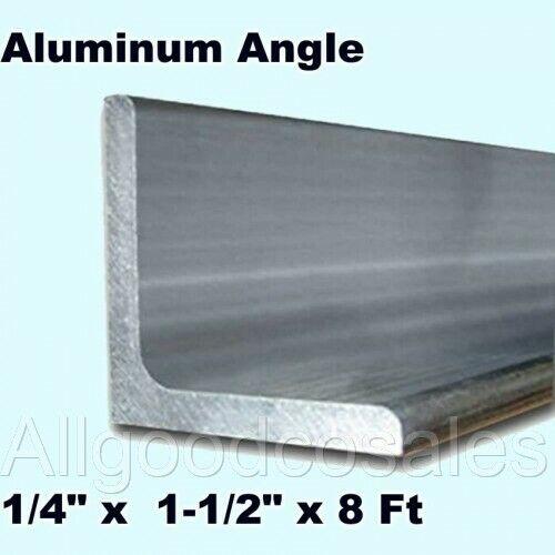 "ALUMINUM ANGLE 1/4"" x 1-1/2"" x 8 Ft Length Unpolished Alloy 6061 90° Stock"