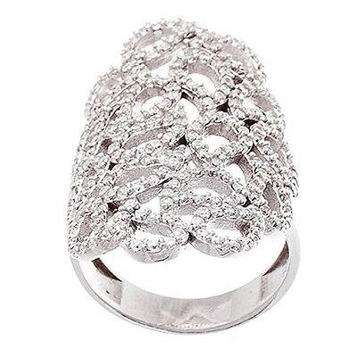 14k Gold Vermeil Wedding Ring (14K WHITE GOLD VERMEIL Open Teardrop Style Filligree Knuckle CZ Ring-Bridal-925  )