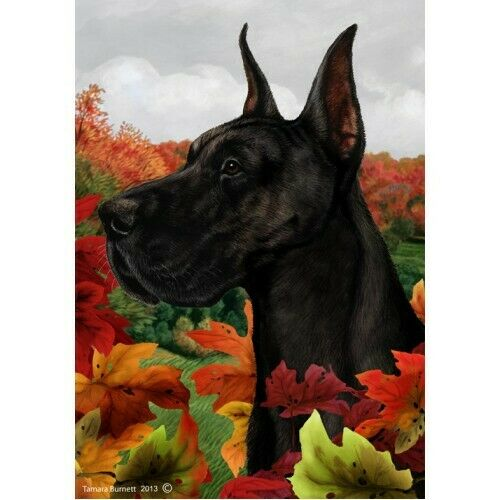Fall House Flag - Black Great Dane 13150