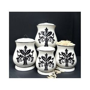 White Ceramic Kitchen Canisters Fleur Best Free Home