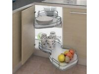 Twin Corner Pull Out kitchen Shelving Unit with Railing, Left or Right Handed, for 800mm Cabinet