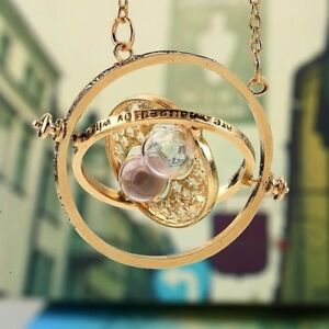 Harry Potter Hermione Granger Rotating Time Turner Necklace Gold Hourglass