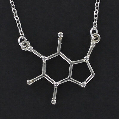 Caffeine Molecule Necklace   Pewter With Chain Coffee Tea Chemical Structure New