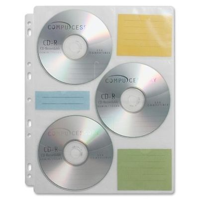 Compucessory CD/DVD Ring Binder Storage Pages - 6 CD/DVD - 25 / Pack