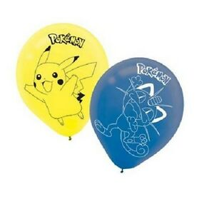 Pokemon Party Balloons, pack of 6, sold deflated